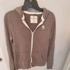 Boys Size 15/16 Abercrombie Kids gray zip hoodie